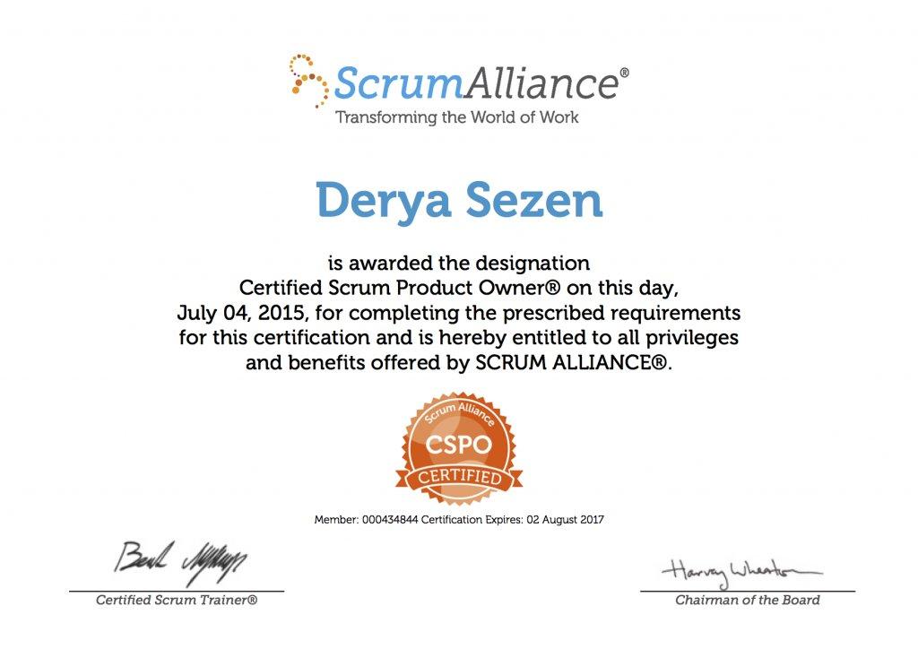 Derya Sezen-ScrumAlliance_CSPO_Certificate