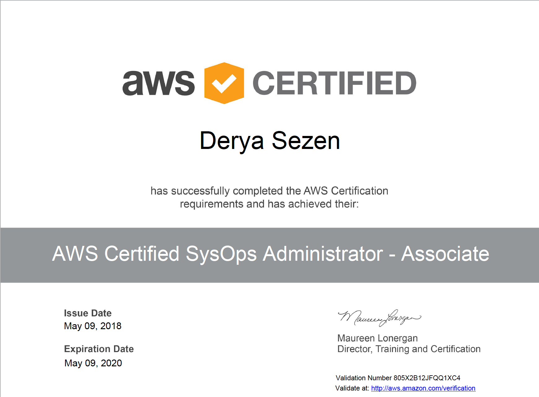 Certificates Derya Sezen